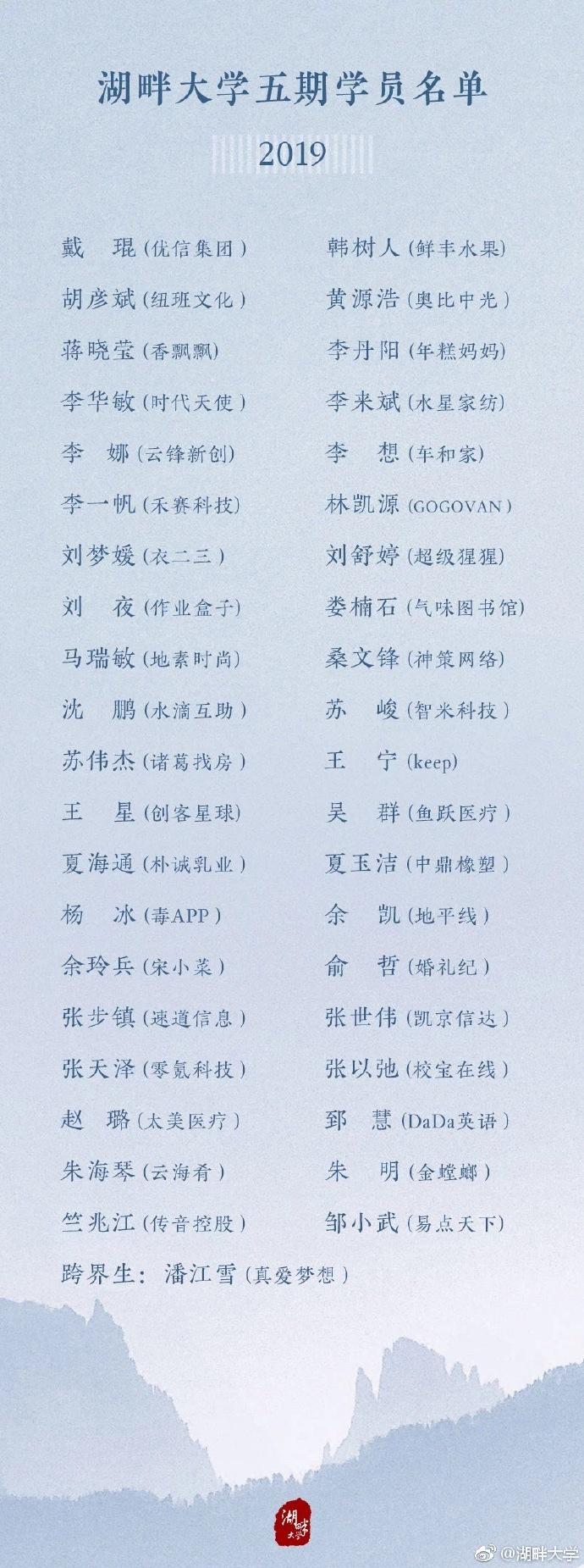 湖畔大学第五届学院名单公布,车和家李想、衣二三刘梦媛、Keep王宁在列