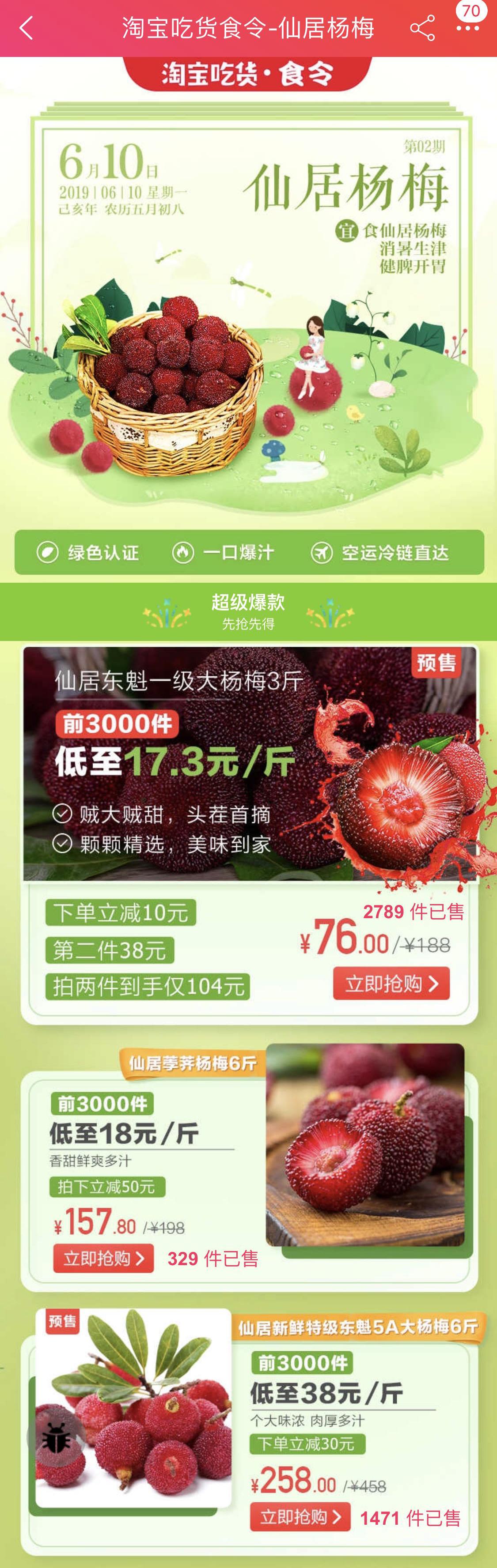 天猫618杨梅好吃不贵遭疯抢:1小时卖出去年全天的量!