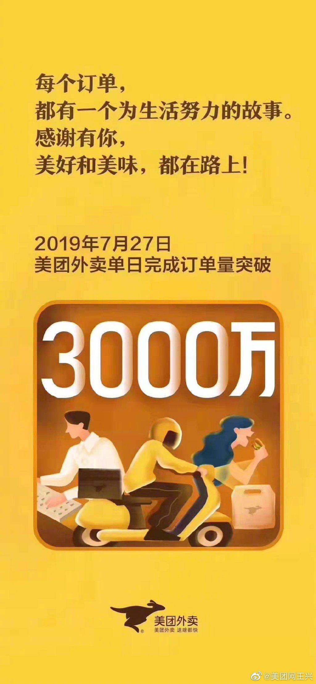 美团王兴:美团外卖一天突破3000万单