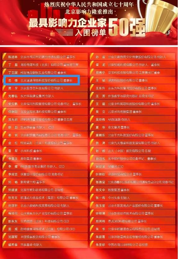 """速途网络董事长范锋入榜""""北京影响力·最具影响力企业家50强"""""""