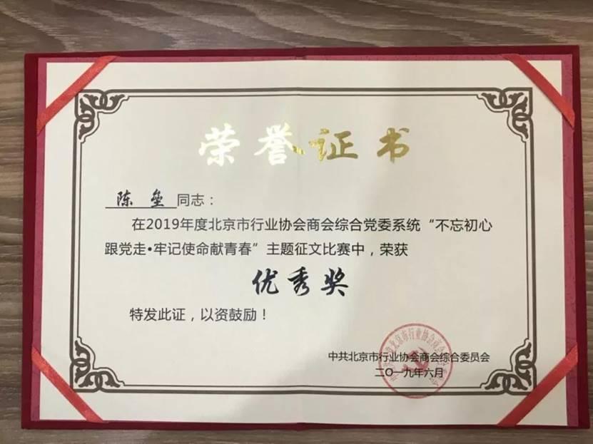 猫来了陈垒作品荣获北京市行业协会商会综合党委主题征文优秀奖
