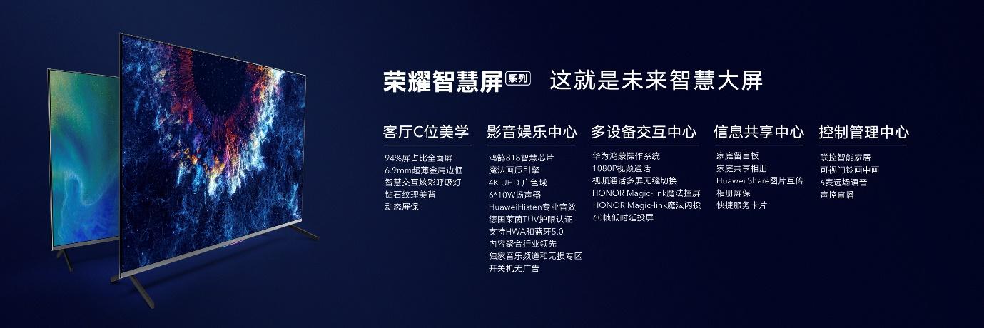 荣耀智慧屏正式2018年最新注册送现金,鸿鹄818芯片加持、搭载鸿蒙OS,售价3799元起