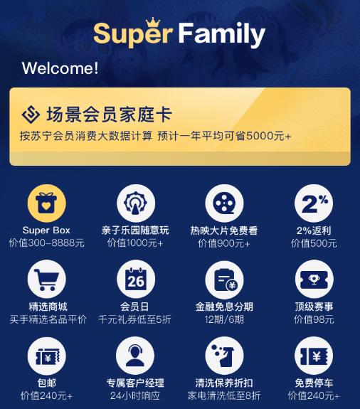 双十一苏宁预售Super Family  12大特权一年可省5000元