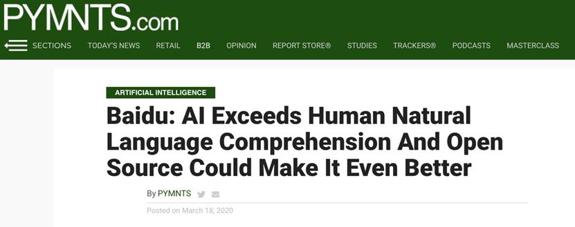 外媒:AI巨头已不止是谷歌亚马逊 中国AI强者百度绝不能忽视