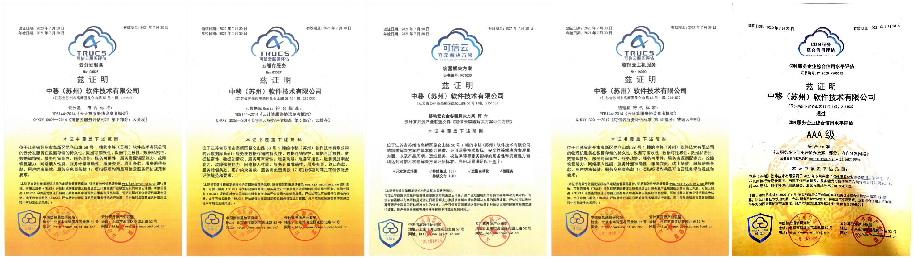 官宣丨中国移动云能力中心新增5项可信云认证,斩获2项大奖!