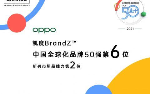 OPPO荣列2021年凯度BrandZ™中国全球化品牌50强第六位