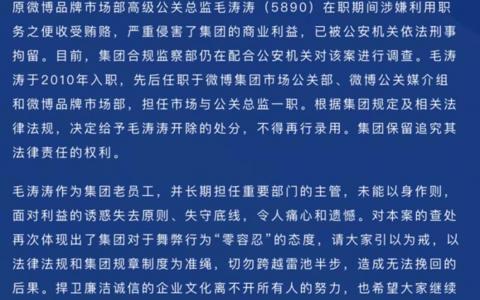 被开除!被拘留!原新浪微博品牌市场部高级公关总监毛涛涛涉嫌职务犯罪
